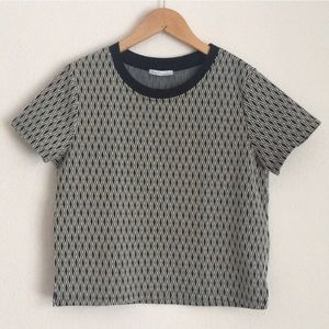 Zara crew neck geometric print crop top